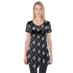 Abstract Of Metal Plate With Lines Short Sleeve Tunic