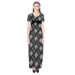 Abstract Of Metal Plate With Lines Short Sleeve Maxi Dress