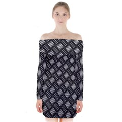 Abstract Of Metal Plate With Lines Long Sleeve Off Shoulder Dress