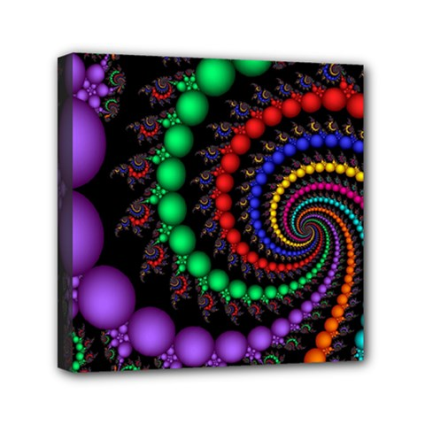 Fractal Background With High Quality Spiral Of Balls On Black Mini Canvas 6  X 6