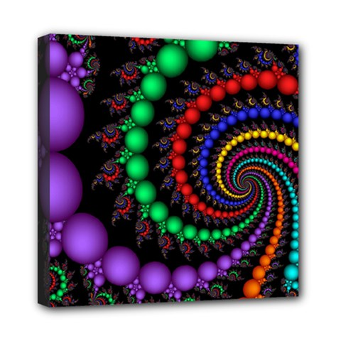 Fractal Background With High Quality Spiral Of Balls On Black Mini Canvas 8  X 8