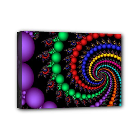 Fractal Background With High Quality Spiral Of Balls On Black Mini Canvas 7  X 5