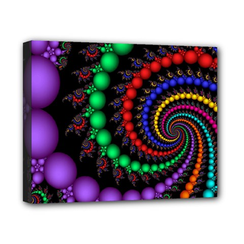 Fractal Background With High Quality Spiral Of Balls On Black Canvas 10  X 8