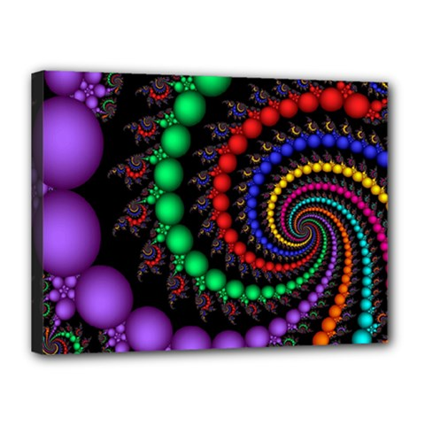 Fractal Background With High Quality Spiral Of Balls On Black Canvas 16  x 12