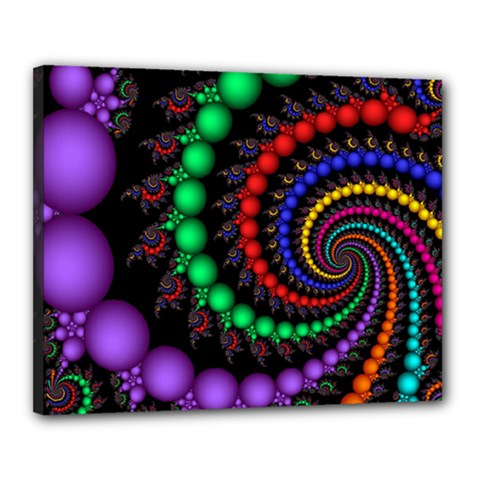 Fractal Background With High Quality Spiral Of Balls On Black Canvas 20  x 16