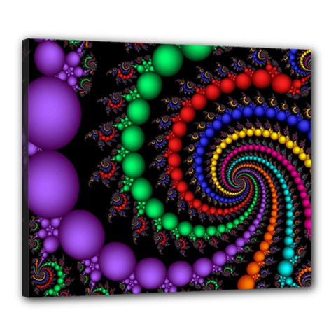 Fractal Background With High Quality Spiral Of Balls On Black Canvas 24  x 20