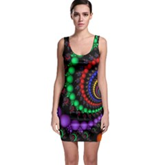 Fractal Background With High Quality Spiral Of Balls On Black Sleeveless Bodycon Dress