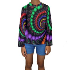 Fractal Background With High Quality Spiral Of Balls On Black Kids  Long Sleeve Swimwear