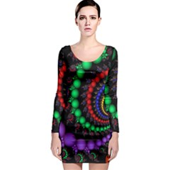 Fractal Background With High Quality Spiral Of Balls On Black Long Sleeve Bodycon Dress