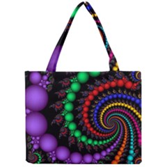 Fractal Background With High Quality Spiral Of Balls On Black Mini Tote Bag