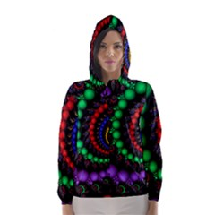 Fractal Background With High Quality Spiral Of Balls On Black Hooded Wind Breaker (Women)