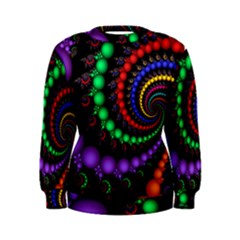 Fractal Background With High Quality Spiral Of Balls On Black Women s Sweatshirt
