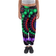 Fractal Background With High Quality Spiral Of Balls On Black Women s Jogger Sweatpants