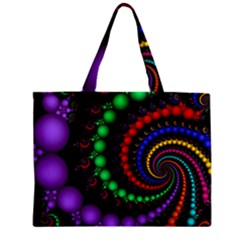 Fractal Background With High Quality Spiral Of Balls On Black Zipper Mini Tote Bag