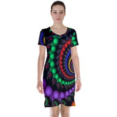 Fractal Background With High Quality Spiral Of Balls On Black Short Sleeve Nightdress