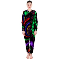 Fractal Background With High Quality Spiral Of Balls On Black Onepiece Jumpsuit (ladies)