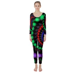 Fractal Background With High Quality Spiral Of Balls On Black Long Sleeve Catsuit