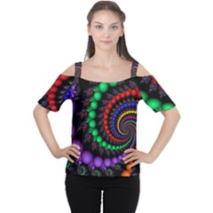 Fractal Background With High Quality Spiral Of Balls On Black Women s Cutout Shoulder Tee