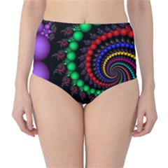 Fractal Background With High Quality Spiral Of Balls On Black High Waist Bikini Bottoms