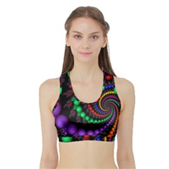 Fractal Background With High Quality Spiral Of Balls On Black Sports Bra With Border