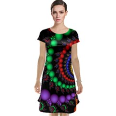 Fractal Background With High Quality Spiral Of Balls On Black Cap Sleeve Nightdress