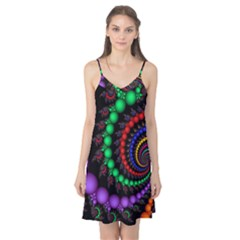 Fractal Background With High Quality Spiral Of Balls On Black Camis Nightgown