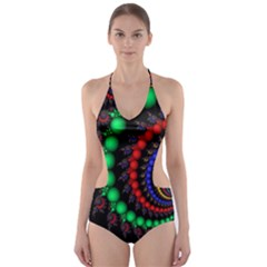 Fractal Background With High Quality Spiral Of Balls On Black Cut Out One Piece Swimsuit