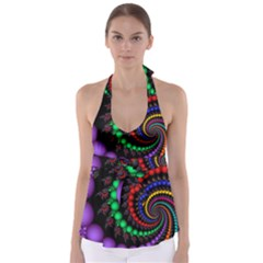 Fractal Background With High Quality Spiral Of Balls On Black Babydoll Tankini Top