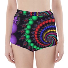 Fractal Background With High Quality Spiral Of Balls On Black High Waisted Bikini Bottoms