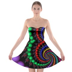 Fractal Background With High Quality Spiral Of Balls On Black Strapless Bra Top Dress