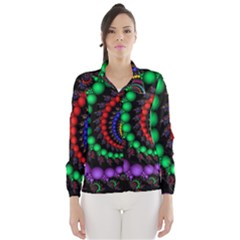 Fractal Background With High Quality Spiral Of Balls On Black Wind Breaker (women)