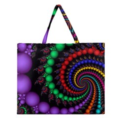 Fractal Background With High Quality Spiral Of Balls On Black Zipper Large Tote Bag