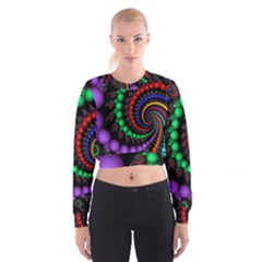 Fractal Background With High Quality Spiral Of Balls On Black Women s Cropped Sweatshirt