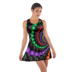 Fractal Background With High Quality Spiral Of Balls On Black Cotton Racerback Dress