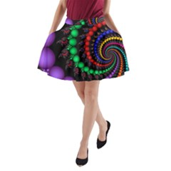 Fractal Background With High Quality Spiral Of Balls On Black A Line Pocket Skirt