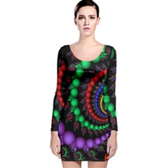 Fractal Background With High Quality Spiral Of Balls On Black Long Sleeve Velvet Bodycon Dress