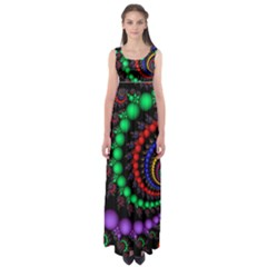 Fractal Background With High Quality Spiral Of Balls On Black Empire Waist Maxi Dress