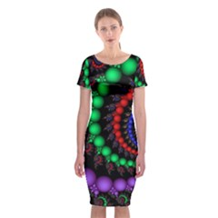 Fractal Background With High Quality Spiral Of Balls On Black Classic Short Sleeve Midi Dress