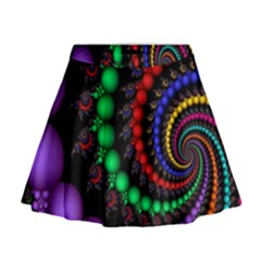 Fractal Background With High Quality Spiral Of Balls On Black Mini Flare Skirt
