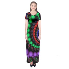 Fractal Background With High Quality Spiral Of Balls On Black Short Sleeve Maxi Dress