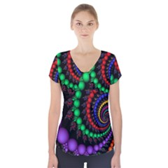 Fractal Background With High Quality Spiral Of Balls On Black Short Sleeve Front Detail Top