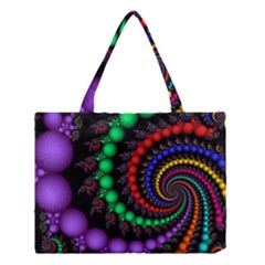 Fractal Background With High Quality Spiral Of Balls On Black Medium Tote Bag