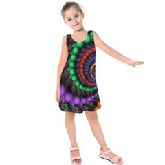 Fractal Background With High Quality Spiral Of Balls On Black Kids  Sleeveless Dress