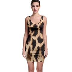 Yellow And Brown Spots On Giraffe Skin Texture Sleeveless Bodycon Dress