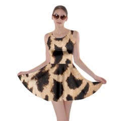 Yellow And Brown Spots On Giraffe Skin Texture Skater Dress