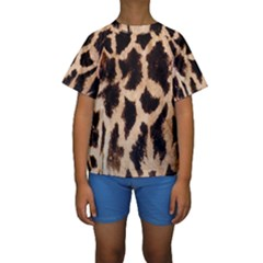 Yellow And Brown Spots On Giraffe Skin Texture Kids  Short Sleeve Swimwear