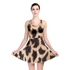Yellow And Brown Spots On Giraffe Skin Texture Reversible Skater Dress