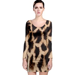 Yellow And Brown Spots On Giraffe Skin Texture Long Sleeve Bodycon Dress