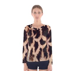 Yellow And Brown Spots On Giraffe Skin Texture Women s Long Sleeve Tee