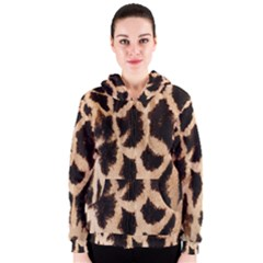 Yellow And Brown Spots On Giraffe Skin Texture Women s Zipper Hoodie